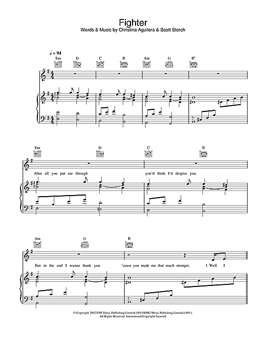 Christina Aguilera Fighter sheet music notes and chords. Download Printable PDF.