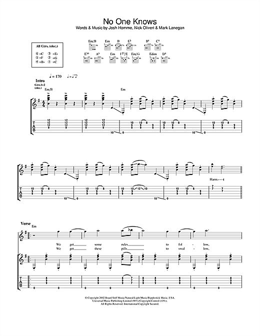 Queens Of The Stone Age No One Knows sheet music notes and chords. Download Printable PDF.