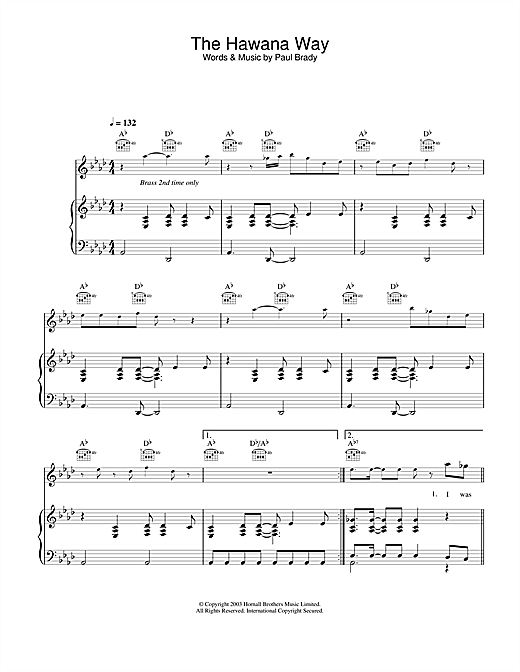 Paul Brady The Hawana Way sheet music notes and chords. Download Printable PDF.