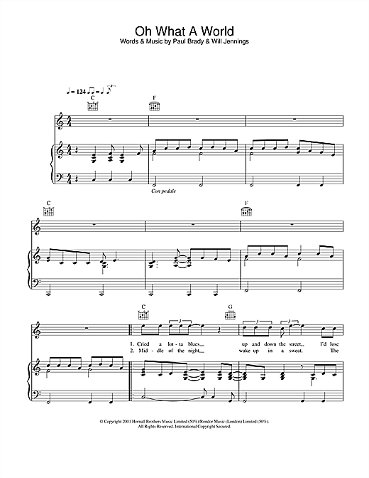 Paul Brady Oh What A World sheet music notes and chords. Download Printable PDF.