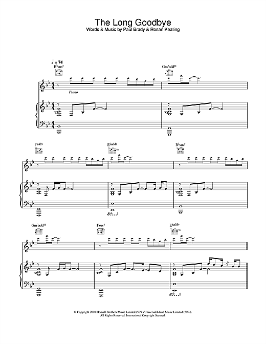 Paul Brady The Long Goodbye sheet music notes and chords. Download Printable PDF.