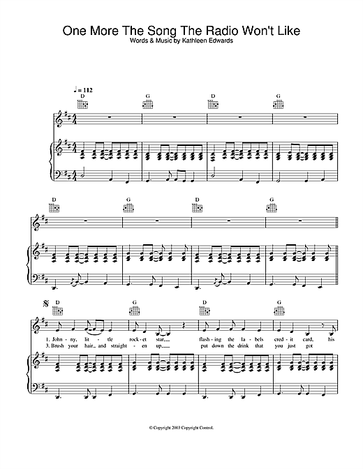 Kathleen Edwards One More The Song The Radio Won't Like sheet music notes and chords. Download Printable PDF.