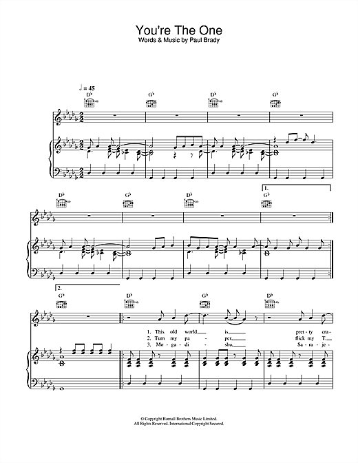 Paul Brady You're The One sheet music notes and chords. Download Printable PDF.