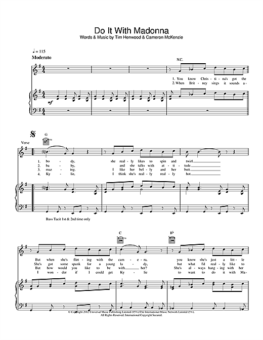 The Androids Do It With Madonna sheet music notes and chords. Download Printable PDF.