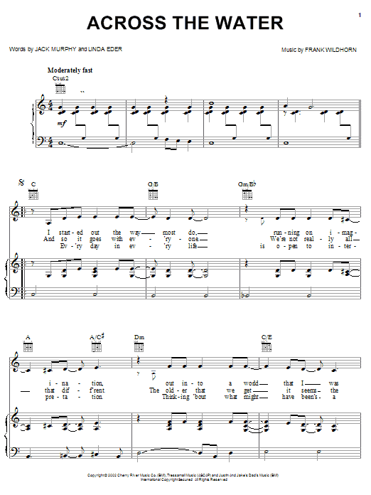 Linda Eder Across The Water sheet music notes and chords. Download Printable PDF.
