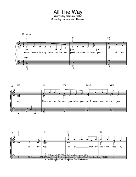 Sammy Cahn All The Way sheet music notes and chords. Download Printable PDF.