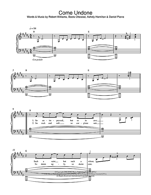 Robbie Williams Come Undone sheet music notes and chords. Download Printable PDF.