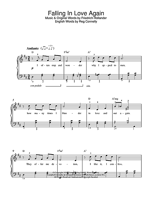Marlene Dietrich Falling In Love Again sheet music notes and chords. Download Printable PDF.
