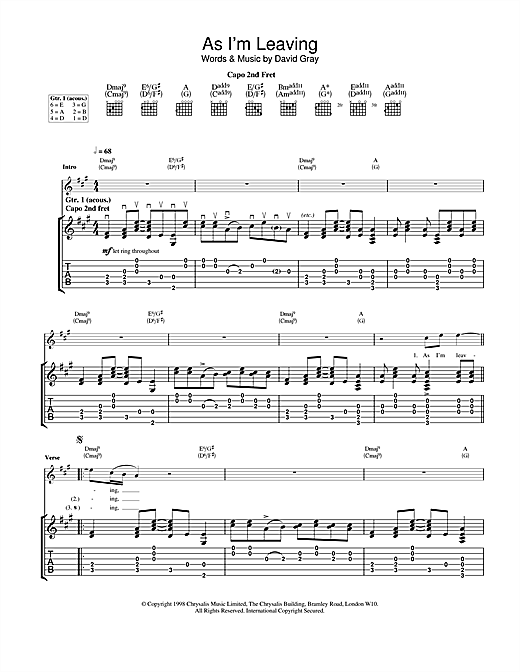 David Gray As I'm Leaving sheet music notes and chords. Download Printable PDF.