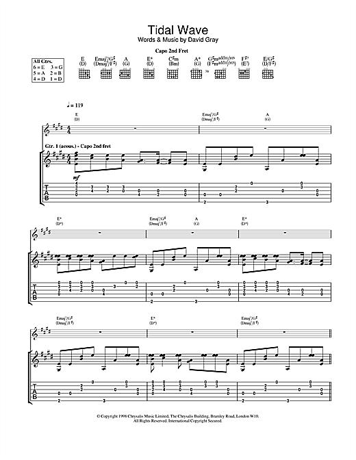 David Gray Tidal Wave sheet music notes and chords. Download Printable PDF.