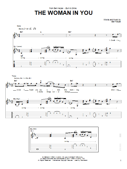 Ben Harper & The Innocent Criminals The Woman In You sheet music notes and chords. Download Printable PDF.