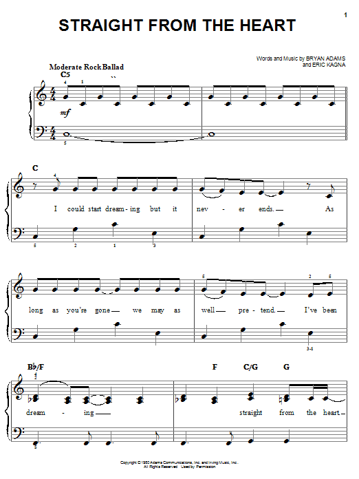 Bryan Adams Straight From The Heart sheet music notes and chords. Download Printable PDF.