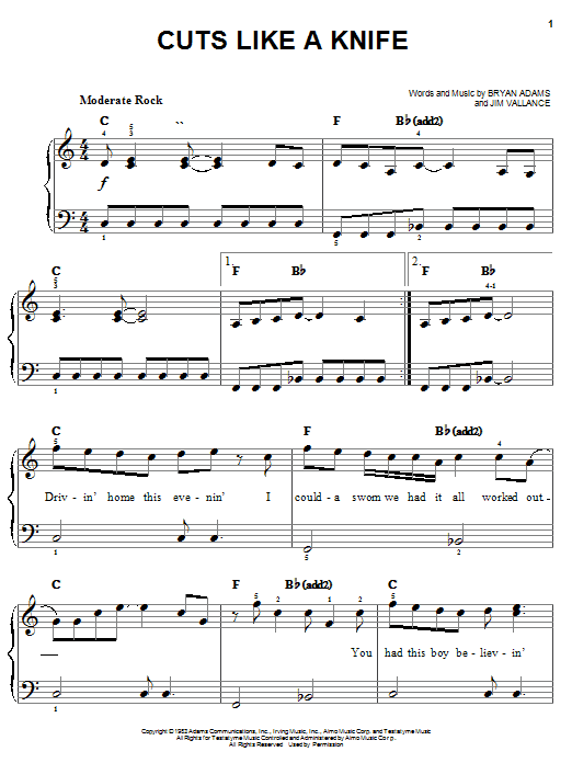 Bryan Adams Cuts Like A Knife sheet music notes and chords. Download Printable PDF.