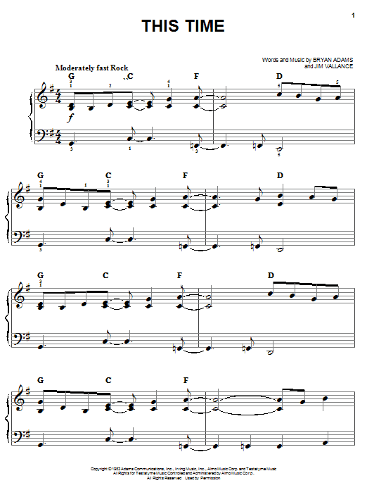 Bryan Adams This Time sheet music notes and chords. Download Printable PDF.