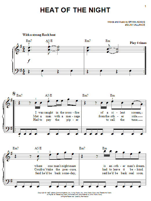 Bryan Adams Heat Of The Night sheet music notes and chords. Download Printable PDF.
