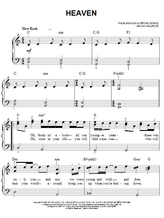 Bryan Adams Heaven sheet music notes and chords. Download Printable PDF.
