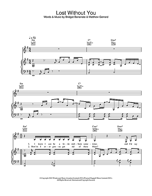 Delta Goodrem Lost Without You sheet music notes and chords. Download Printable PDF.