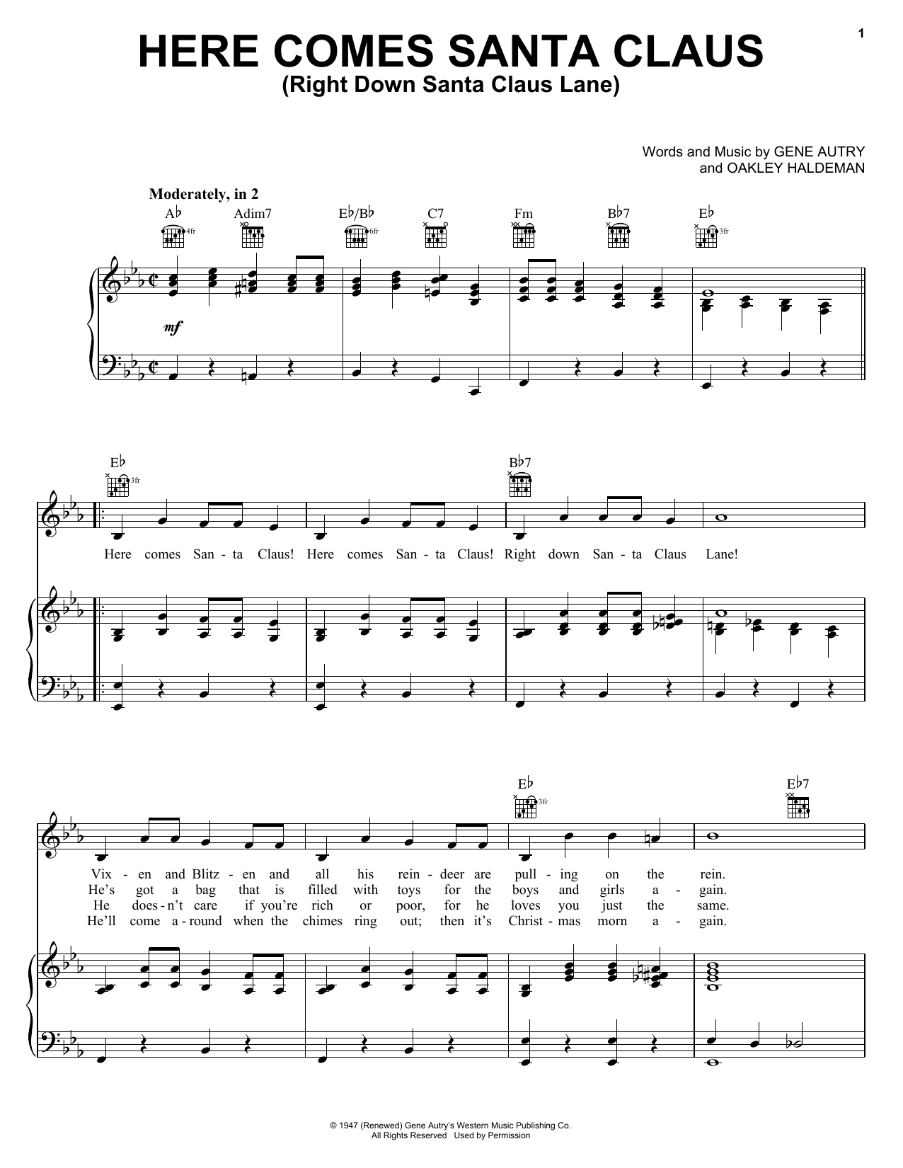 Gene Autry Here Comes Santa Claus (Right Down Santa Claus Lane) sheet music notes and chords. Download Printable PDF.