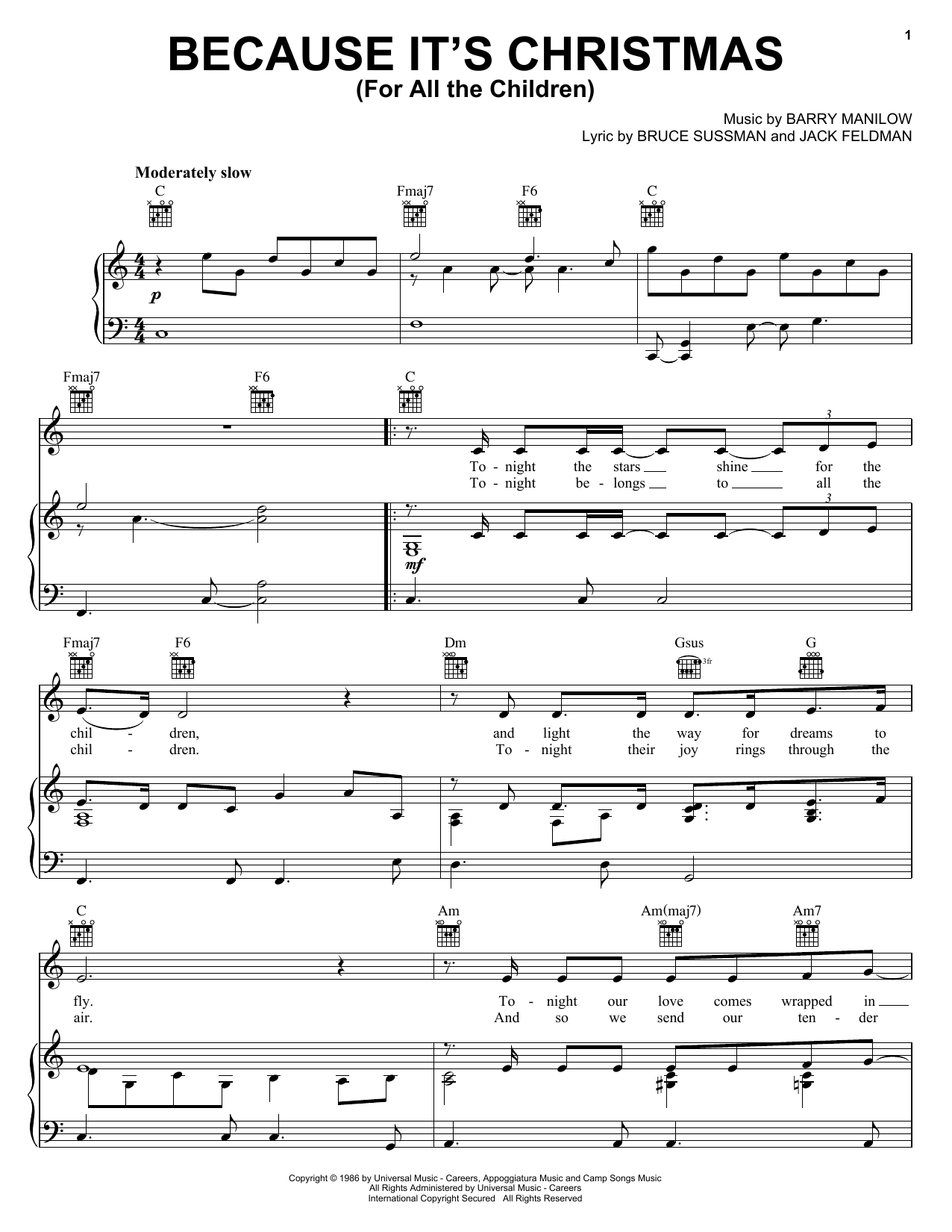 Barry Manilow Because It's Christmas (For All The Children) sheet music notes and chords. Download Printable PDF.