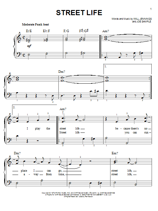 The Crusaders Street Life sheet music notes and chords. Download Printable PDF.