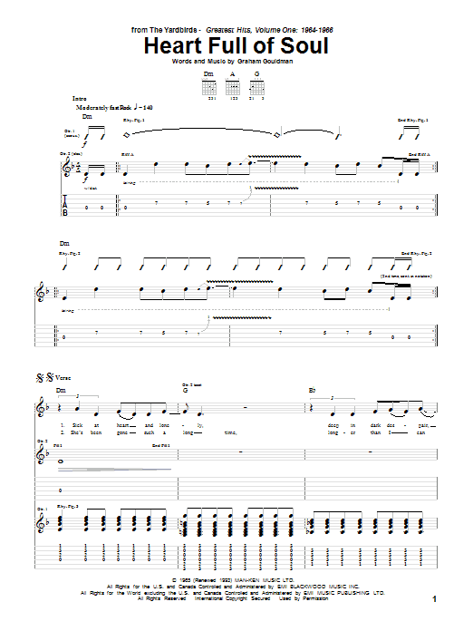 The Yardbirds Heart Full Of Soul sheet music notes and chords. Download Printable PDF.