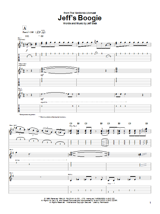 Jeff Beck Jeff's Boogie sheet music notes and chords. Download Printable PDF.