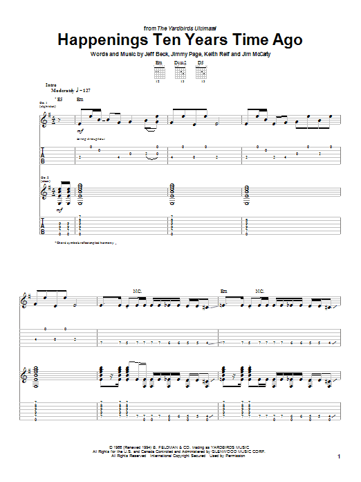 The Yardbirds Happenings Ten Years Time Ago sheet music notes and chords. Download Printable PDF.