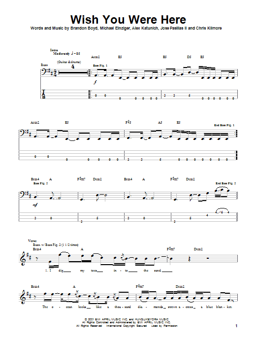 Incubus Wish You Were Here sheet music notes and chords. Download Printable PDF.
