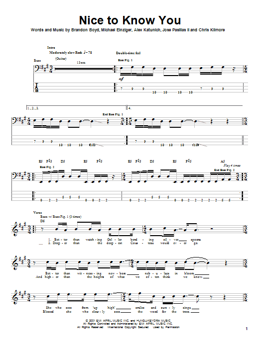 Incubus Nice To Know You sheet music notes and chords. Download Printable PDF.