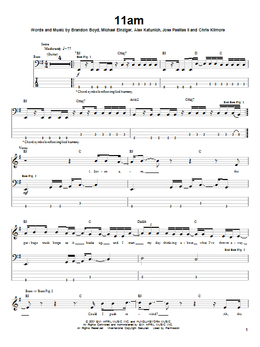 Incubus 11am sheet music notes and chords. Download Printable PDF.