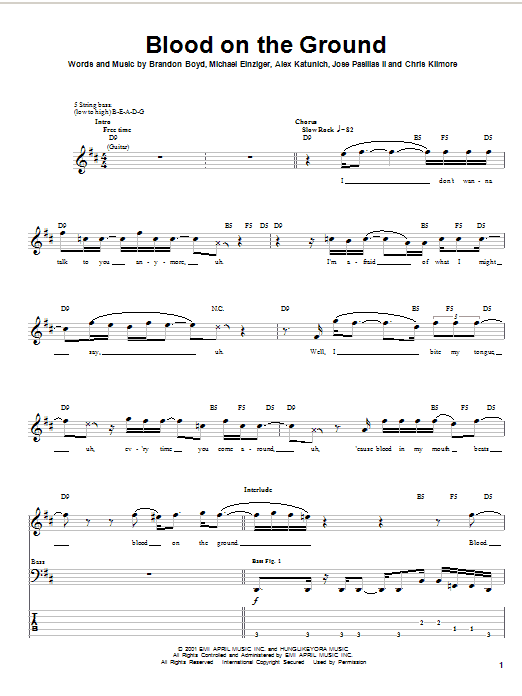 Incubus Blood On The Ground sheet music notes and chords. Download Printable PDF.