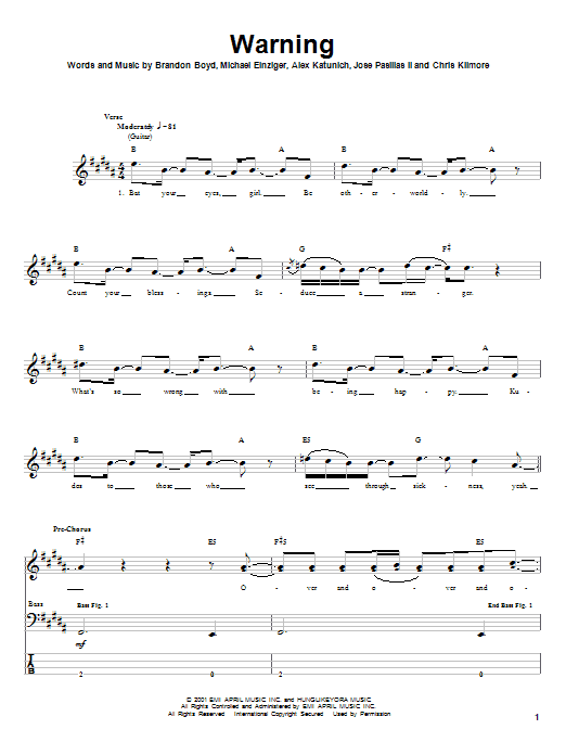 Incubus Warning sheet music notes and chords. Download Printable PDF.