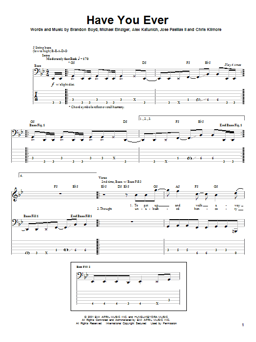 Incubus Have You Ever sheet music notes and chords. Download Printable PDF.