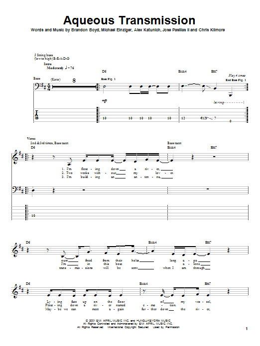 Incubus Aqueous Transmission sheet music notes and chords. Download Printable PDF.