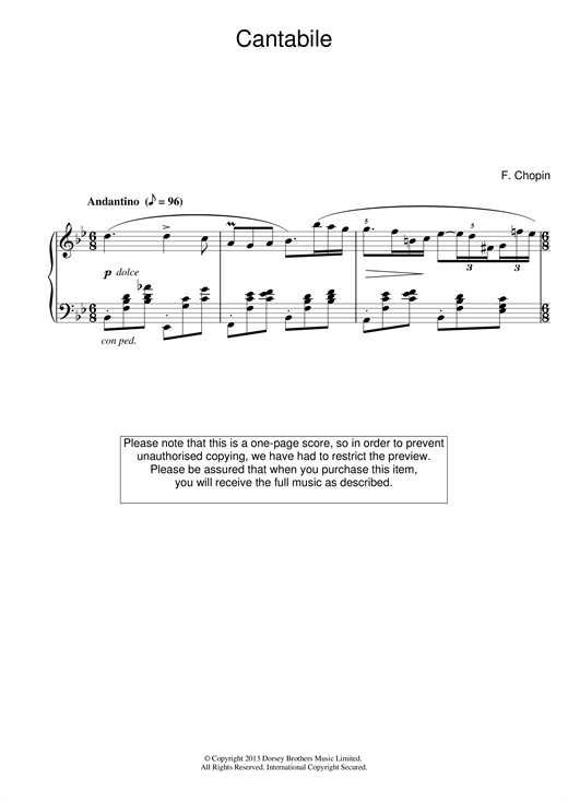 Frederic Chopin CantA Flatile in B Flat Major sheet music notes and chords. Download Printable PDF.