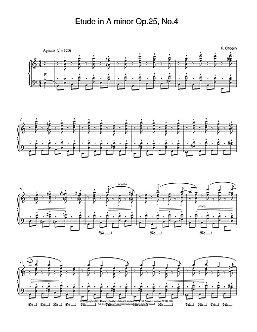 Frederic Chopin Etude in A Minor, Op.25, No.4 sheet music notes and chords. Download Printable PDF.
