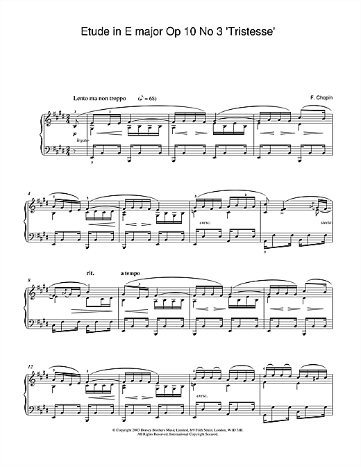 Frederic Chopin Etude in E Major, Op.10, No.3 (Tristesse) sheet music notes and chords. Download Printable PDF.