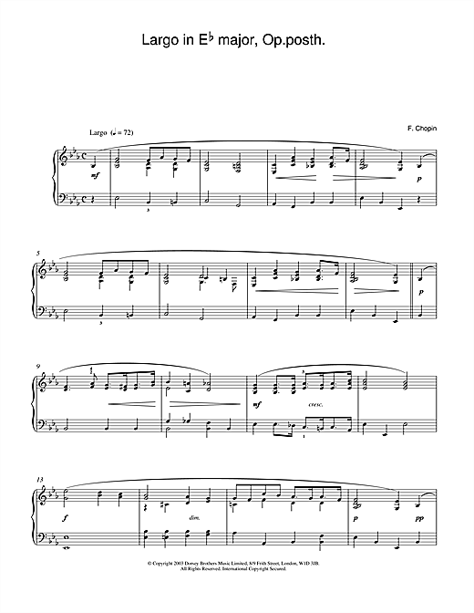 Frederic Chopin Largo in E Flat major, Op posth. sheet music notes and chords. Download Printable PDF.