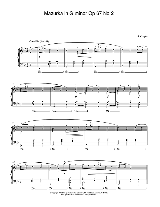 Frederic Chopin Mazurka in G minor Op.67, No.2 sheet music notes and chords. Download Printable PDF.