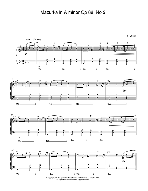 Frederic Chopin Mazurka in A minor Op.68, No.2 sheet music notes and chords. Download Printable PDF.