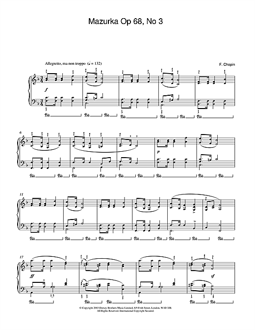 Frederic Chopin Mazurka Op.68, No.3 sheet music notes and chords. Download Printable PDF.