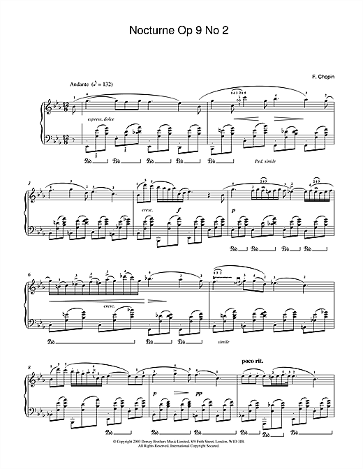 Frederic Chopin Nocturne In E Flat Major, Op.9, No.2 sheet music notes and chords. Download Printable PDF.