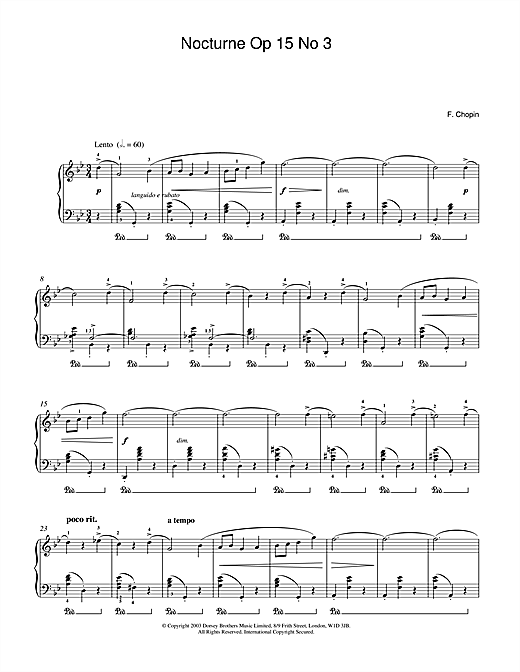 Frederic Chopin Nocturne Op 15 No 3 sheet music notes and chords. Download Printable PDF.