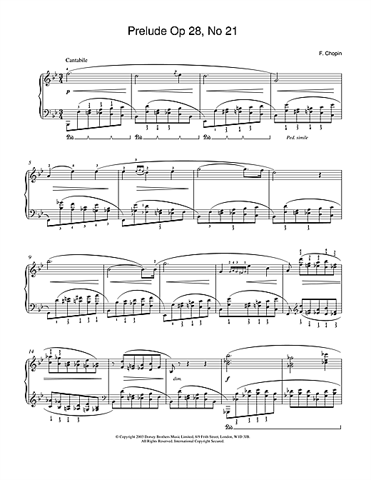 Frederic Chopin Prelude in B Flat Major, Op.28, No.21 sheet music notes and chords. Download Printable PDF.