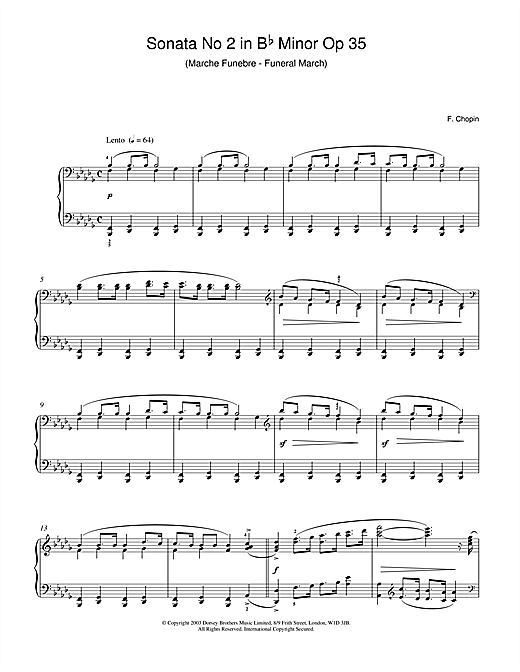 Frederic Chopin Sonata No.2 in B Flat Minor Op 35 (Funeral March) sheet music notes and chords. Download Printable PDF.