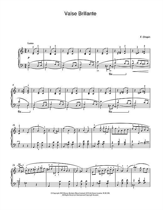 Frederic Chopin Waltz In A Minor, Op. 34, No. 2 (Valse Brillante) sheet music notes and chords. Download Printable PDF.