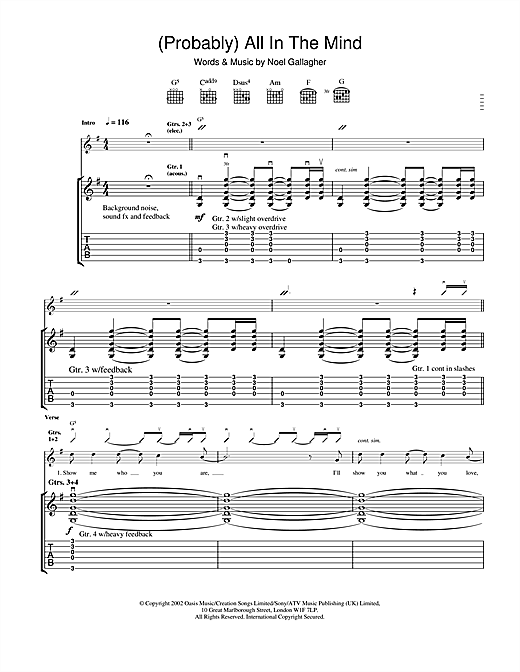 Oasis (Probably) All In The Mind sheet music notes and chords. Download Printable PDF.