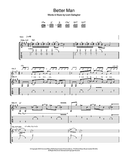 Oasis Better Man sheet music notes and chords. Download Printable PDF.