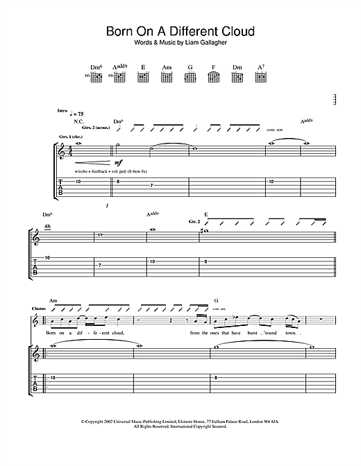 Oasis Born On A Different Cloud sheet music notes and chords. Download Printable PDF.