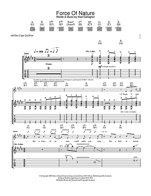 Oasis Force Of Nature sheet music notes and chords. Download Printable PDF.